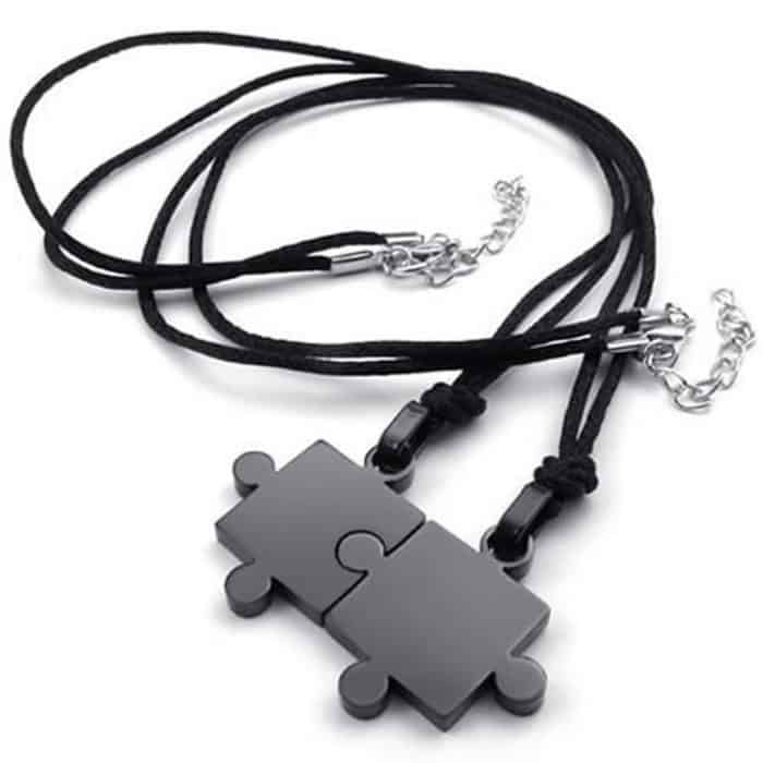 Couple Necklaces Black Puzzle Pendant